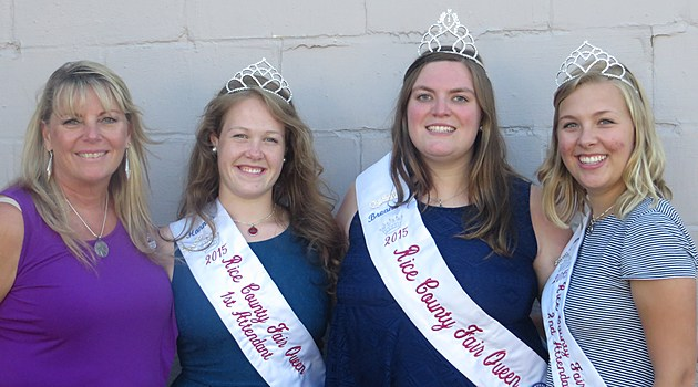 Rice County Fair Queen Pageant Coordinator Kathy Cap with 2015 Royalty Hannah Thompson, Breannca Bussert and Jane Ludwig L to R