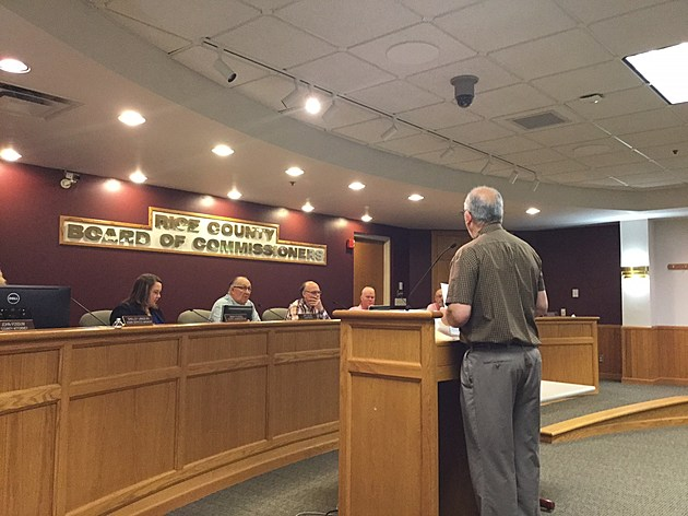 Rice County Highway Engineer Dennis Luebbe Before County Board of Commissioners- photo by Gordy Kosfeld