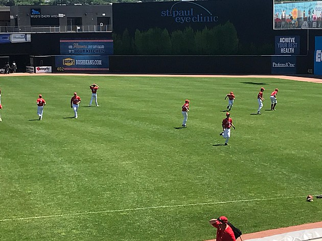 Lakeville North Warming Up before Burnsville game at CHS FIeld in St. Paul- photo by Gordy Kosfeld