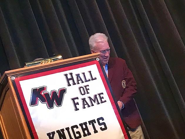 Former KHS Coach Rich Decker Presented with Vikings Blazer. Photo by Gordy Kosfeld