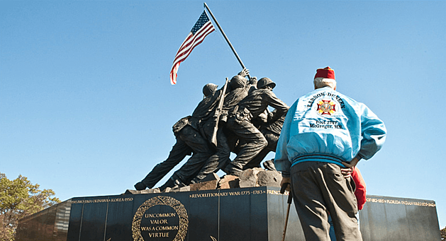 Honor Flight Veteran Visits Iwo Jima Monument.  photo provided by HFTC