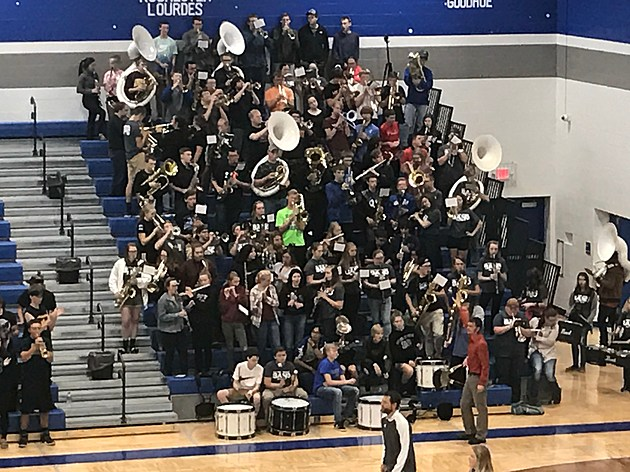 Kasson-Mantorville Pep Band during K-W Match. Photo by Gordy Kosfeld