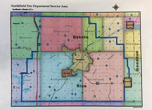 Northfield Fire Department Coverage Map from Northfield Area Fire Service and Rescue