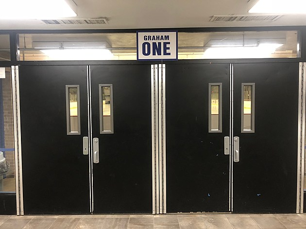 Doors to Rink One Graham Arena Rochester.  Photo by Gordy Kosfeld