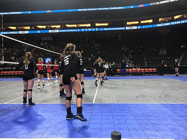 Kasson-Mantorville Warms Up for Kenyon-Wanamingo at State Tournament.  Photo by Gordy Kosfeld