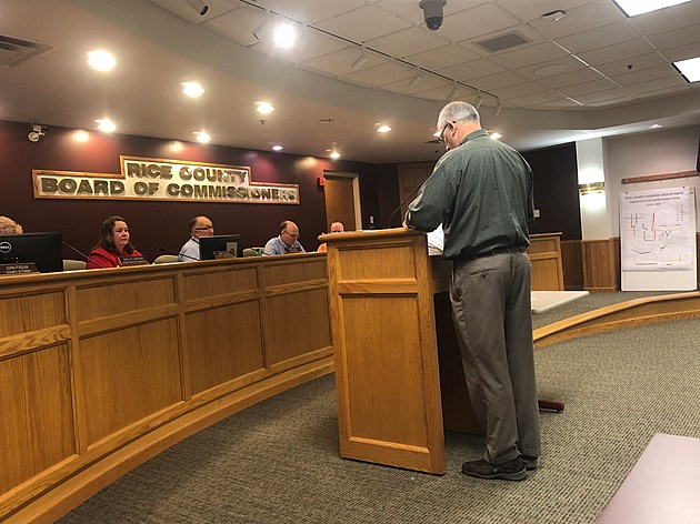 Rice County Highway Engineer Dennis Luebbe at County Board Meeting.  Photo by Gordy Kosfeld