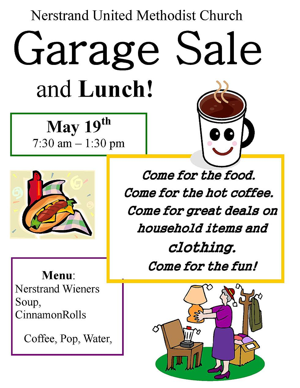 Nerstrand United Methodist Spring Garage Sale And Lunch